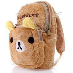 Cute Rilakkuma Style Plush Buckle Bag Pouch Purse Wallet with Hook for Kids NFK-102189