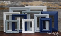 Navy Blue, Grey, White Picture Frames / Upcycled Distressed Picture Frame Set / Nursery Decor / Gallery Wall Frame Set / Skyline Collection Navy Blue Grey White Picture Frames / by hydeandchicboutique Distressed Picture Frames, White Picture Frames, Picture Frame Sets, White Frames, Bed Picture, Gallery Wall Frame Set, Frames On Wall, Painted Frames, Blue Gray Bedroom