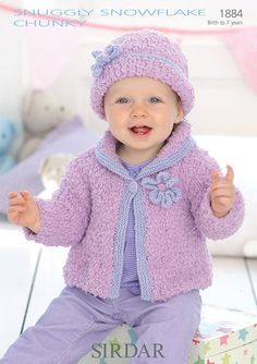 Hat and Cardigan in Sirdar Snuggly Snowflake Chunky and Snuggly DK - 1884 - Downloadable PDF
