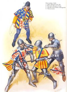 Foot combat, 1446: 1. John, Bastard of St. Pol 2. Bernard, Bastard of Foix 3. Herald of the Duke of Burgundy 4. Man-at-arms