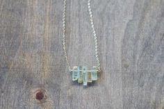 Raw Aquamarine Crystal Necklace on Sterling by MoonLabJewelry