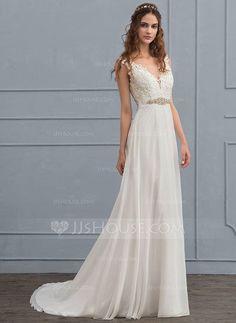 [US$ 149.99] A-Line/Princess V-neck Court Train Chiffon Wedding Dress With Beading Sequins