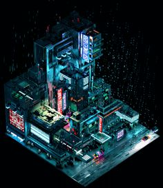 "Consulta este proyecto @Behance: ""Sci-Fi City - Voxel Art"" https://www.behance.net/gallery/45507447/Sci-Fi-City-Voxel-Art"