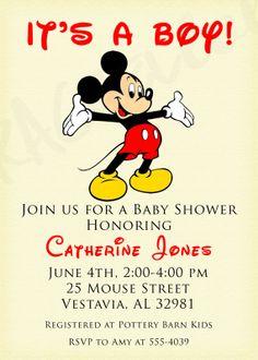 Classic Mickey Mouse Birthday Invitation Baby Shower by Rachellola