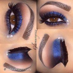 Blue shadow makeup look by makeupbyglamureyesz using Motives eyeshadow in Onyx and Motives gel eyeliner in Little Black Dress