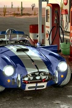 New in 1966 Ford Shelby 427 AC Cobra at the Gas Pumps of a Texaco Station. Classic Sports Cars, Classic Cars, Ac Cobra, Shelby Gt 500, Ford Shelby, Ferrari, Pompe A Essence, Carroll Shelby, Sweet Cars
