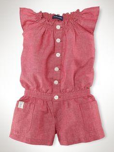 Chambray Linen Romper - Girls 2-6X Dresses & Rompers - RalphLauren.com