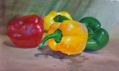"Saatchi Online Artist shaji panthayil; Painting, ""Capsicum In Wet (Painting)"" #art"