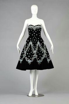 1957 France.Cocktail dress 'Solveig' by Pierre Balmain,hand embroidered by Maison Lesage Silk velvet,silk ribbon,celadon, metallic thread, beads.