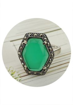 Sterling Silver, Marcasite & Green Chaldedony Ring $79