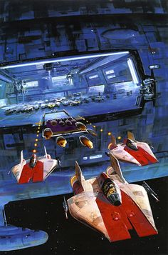 StarWars Art by Ralph McQuarrie Rpg Star Wars, Nave Star Wars, Star Wars Ships, Star Wars Rebels, Star Trek, Ralph Mcquarrie, Science Fiction, Images Star Wars, Star Wars Painting