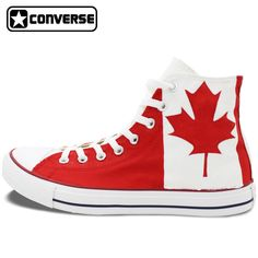 Canadian National Canada Flag Converse All Star Man Woman Shoes Red Maple Leaf Hand Painted High Top Canvas Sneaker Men Women Painted Converse, Painted Canvas Shoes, Hand Painted Shoes, Converse All Star, Custom Converse Shoes, Espadrilles, Canvas Sneakers, Luxury Shoes, Types Of Shoes
