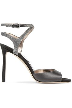 Jimmy Choo - Helen Glitter-trimmed Satin And Suede Sandals - Anthracite - IT39.5