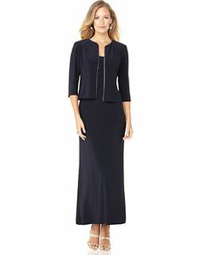 Alex Evenings Dress and Jacket, Sleeveless Rhinestone Trim Evening Gown - Dresses - Women - Macy's