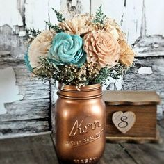 Medium Wedding Centerpiece Flowers, Wedding Reception, Wedding Decor, Rustic Wedding | CuriousFloral