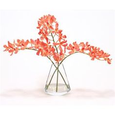 Check out the Distinctive Designs 16159 Waterlook Silk Orange Vanda Orchids in a Rocking Glass Vase