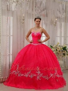 a8fb85fb6f2 New Iberia   Louisiana Wholesale Coral Red Sweetheart Appliques Decorate  2013 Quinceanera Dresses Party Style