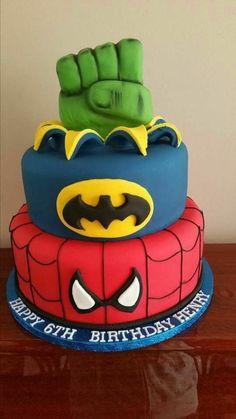 spiderman hulk and batman cake cake wedding cake kindergeburtstag ohne backen rezepte schneller cake cake Spiderman Torte, Spiderman Birthday Cake, Avengers Birthday, Superhero Cake, Superhero Birthday Party, Birthday Boys, Birthday Parties, Batman Party, Themed Parties