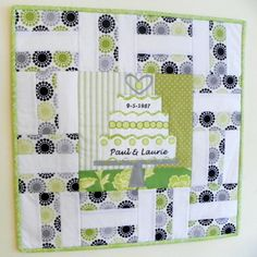 Could add several rounds of borders for more signatures, or create a different layout. (Quilted Wall Hanging - I DO Personalized Wedding Cake with Signature Blocks) Quilt Guest Books, Book Quilt, Quilted Cake, Quilting Designs, Art Quilting, Quilting Ideas, Signature Quilts, Baby Fabric, Framed Fabric