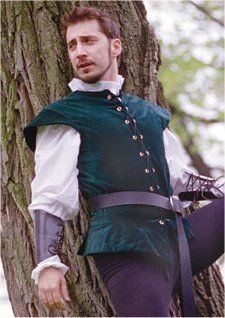 Renaissance Doublet: Renaissance Costumes, Medieval Clothing, Madrigal Costume: The Tudor Shoppe Looks like a flynn rider costume Renaissance Mode, Renaissance Fair Costume, Medieval Costume, Renaissance Fashion, Renaissance Clothing, Medieval Dress, Larp, Mens Garb, Prince Charmant