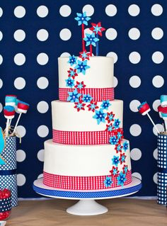 Red, White & Blue cake love  from #GotWhatItCakes ; dessert bar styled by: @Anders Ruff Custom Designs featured on #HWTM @Jessie Senese