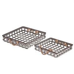 Set of 2 Square Basket Trays Nesting