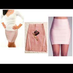 Blush pink Bebe skirt Cute skirt with 2 zipper on front waist 28 hip 35 bebe Skirts Midi