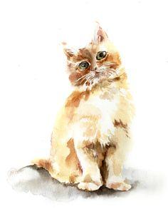 Kitten Watercolor Painting Art Print - Cat Painting - Cat Art - Cat Watercolor - Cat Wall Art - Brown #etsy #etsyretwt