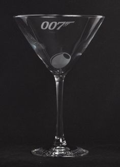 Etched 007 James bond martini glass by Jackglass on by Jackglass etsy