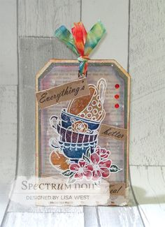 Designed by Lisa West using stamps by Crafters Companion Coloured using Spectrum Noir Sparkle Pens – Biscuit, Macaroon, Teacup (Vintage Tea – Vintage Collection) and Clear Sparkle Pen #spectrumnoir #crafterscompanion #coloring #colouring #papercraft #sparkle