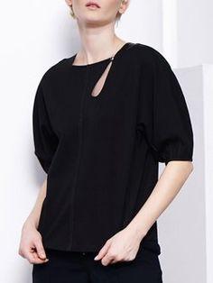 Black Binding Half Sleeve Square Neck Solid Top