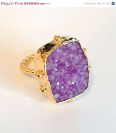 SPRING SALE Purple Druzy and 18k gold by YaronaJewelryDesign, $125.10