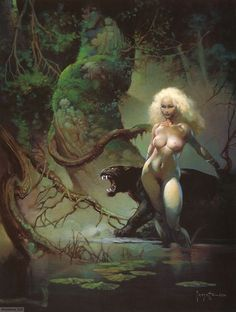 Princess and the Panther Print Art by Frank Frazetta - Pop Art - Ideas of Pop Art Robert Mcginnis, Norman Rockwell, Image Comics, Boris Vallejo, Ralph Mcquarrie, Fantasy Kunst, Fantasy Art, Karl Kopinski, John Howe
