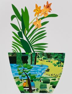 Jonas Wood  | Landscape Pot WIth Yellow Orchid