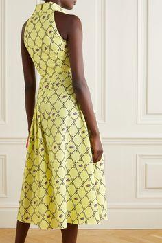 EMILIA WICKSTEAD Pleated Printed Midi Dress - We Select Dresses Feel Fantastic, Emilia Wickstead, Pleated Midi Dress, Vacation Dresses, Lemon Yellow, Designer Dresses, Curves, Printed, Skirts
