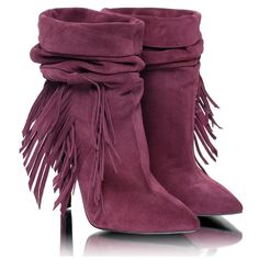ON SALE 20% from listing price Fringed women's boots. Handmade suede... (9.580 RUB) ❤ liked on Polyvore featuring shoes, boots, stiletto boots, suede fringe boots, fringe high heel boots, clear boots and suede boots