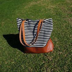 Striped Canvas Leather Tote by UmbrellaCollective on Etsy