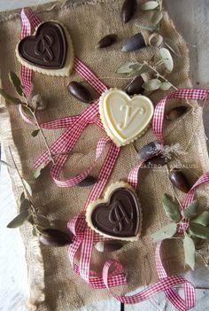 Galletas con oblea de chocolate, corazón receta san valentín