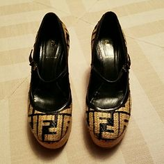 Fendi shoes FENDI BABY DOLL ZUCCA PRINT BLACK AND TAN SIZE 38  WORN A HANDFUL OF TIMES  VERY GOOD CONDITION  VERY COMFORTABLE  I wear a 7 - 7 1/2 Fendi Shoes Espadrilles