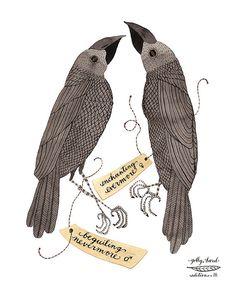 ravens bird specimen print by golly bard