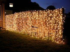 curtain lights on fence for night-time garden party. Perfect for Tickle Towers!