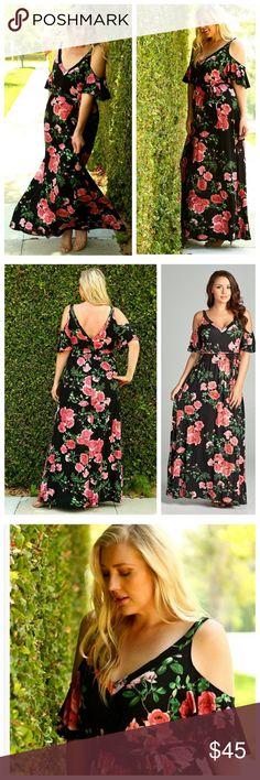 Floral Cold Shoulder Flutter Sleeve Maxi Floral maxi with pink roses on a black background has a separate sash and a deep v in front and back. Soft, lightweight jersey. EVIEcarche Dresses
