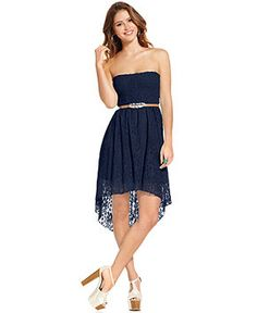 d0b37f792 Urban Hearts Juniors Dress, Strapless Lace High-Low & Reviews - Dresses -  Juniors - Macy's
