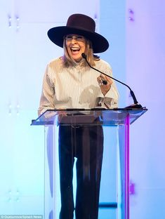 Diane Keaton laughed happily while delivering the keynote address at the event.