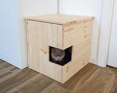Corner Litter Box Cover, Pet House, Cat Litter Box Cabinet, Pet Furniture made of spruce wood - Cat Diys Hiding Cat Litter Box, Diy Litter Box, Hidden Litter Boxes, Litter Box Enclosure, Litter Box Covers, Litter Pan, Pet Furniture, Furniture Covers, Wood Cat
