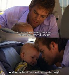Dexter and Harrison from the show Dexter Dexter Memes, Dexter Quotes, Dexter Tv Series, Dexter Seasons, Country Relationships, Michael C Hall, Movie Couples, Movie Facts, Quotes