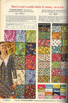 Vintage Fabric Mail-order I had dresses made out of some of these prints. Vintage Fabrics, Vintage Sewing Patterns, Retro Fabric, Vintage Advertisements, Vintage Ads, Vintage Stuff, Welcome To The 60s, Vintage Outfits, Vintage Fashion