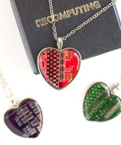 Geeky heart necklace  Circuit board necklace  by ReComputing