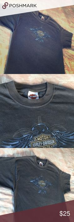 Great Harley Davidson Factory Tour T-Shirt/ grey Sweet Harley Davidson original. Large on a Hanes Beefy tee . Gray , soft with some light wear . (See back)  Nothing to fret over . Cleaned up & ready to wear . Fantastic front & rear logos as well Harley 🤘🤛🤠 Pennsylvania Harley-Davidson Tops Tees - Short Sleeve