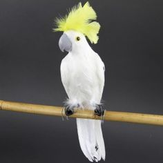 "14"" COCKATOO WHITE/YELLOW Silk Tree, Colour Splash, Floral Supplies, Cockatoo, Mellow Yellow, Pure White, Bird Feathers, Beautiful Birds, Silk Flowers"